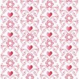 Άνευ ραφής ρόδινο floral σχέδιο με τις καρδιές Διακοσμητικό σκηνικό διακοσμήσεων για το ύφασμα, υφαντικό, τυλίγοντας έγγραφο Στοκ φωτογραφίες με δικαίωμα ελεύθερης χρήσης