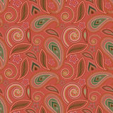 Άνευ ραφής ρόδινο γεωμετρικό σχέδιο με το Paisley και τα λουλούδια Διανυσματική τυπωμένη ύλη Στοκ εικόνα με δικαίωμα ελεύθερης χρήσης