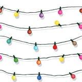 Άνευ ραφής σειρά των φω'των Χριστουγέννων που απομονώνονται στο λευκό Στοκ Φωτογραφία