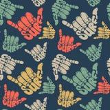 Άνευ ραφής σημάδι χεριών σερφ σχεδίων Στοκ Φωτογραφία