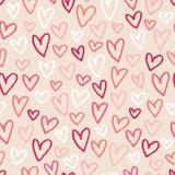 άνευ ραφής σκίτσο προτύπων καρδιών ανασκόπησης Στοκ Εικόνα