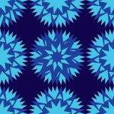 Άνευ ραφής σκούρο μπλε υπόβαθρο και ζωηρόχρωμο αφηρημένο γεωμετρικό μπλε μορφών cornflower ελεύθερη απεικόνιση δικαιώματος