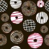 Άνευ ραφής σοκολάτα Donuts για τη συσκευασία, ύφασμα σχεδίων τυπωμένων υλών Συρμένη χέρι εικόνα Watercolor τέλεια για το σχέδιο π Στοκ Εικόνες