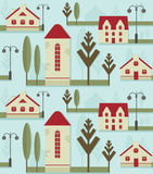 Άνευ ραφής στοιχείο σχεδίων Χαριτωμένα σπίτια με τις κόκκινες στέγες, τους λαμπτήρες οδών και τα δέντρα Στοκ Φωτογραφία