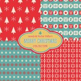 Άνευ ραφής συλλογή σχεδίων Χριστουγέννων διανυσματική Στοκ εικόνα με δικαίωμα ελεύθερης χρήσης