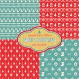 Άνευ ραφής συλλογή σχεδίων Χριστουγέννων διανυσματική Στοκ φωτογραφία με δικαίωμα ελεύθερης χρήσης