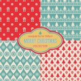 Άνευ ραφής συλλογή σχεδίων Χριστουγέννων διανυσματική Στοκ Φωτογραφία