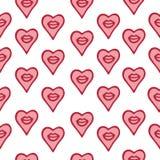 Άνευ ραφής συρμένες χέρι χείλια και καρδιές σχεδίων Στοκ Φωτογραφίες
