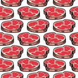 Άνευ ραφής συρμένο χέρι ζωηρόχρωμο κρέας σχεδίων Μαύρο σκίτσο Doodle σύμβολο σημαδιών Στοιχείο διακοσμήσεων η ανασκόπηση απομόνωσ απεικόνιση αποθεμάτων