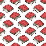Άνευ ραφής συρμένο χέρι ζωηρόχρωμο κρέας σχεδίων στα πλευρά Μαύρο σκίτσο Doodle σύμβολο σημαδιών Στοιχείο διακοσμήσεων Απομονωμέν απεικόνιση αποθεμάτων