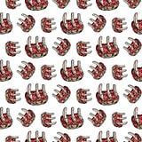 Άνευ ραφής συρμένο χέρι ζωηρόχρωμο κρέας σχεδίων στα πλευρά Μαύρο σκίτσο Doodle σύμβολο σημαδιών Στοιχείο διακοσμήσεων Απομονωμέν διανυσματική απεικόνιση