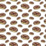 Άνευ ραφής συρμένο χέρι ζωηρόχρωμο doughnut σχεδίων Μαύρο σκίτσο Doodle σύμβολο σημαδιών Στοιχείο διακοσμήσεων η ανασκόπηση απομό διανυσματική απεικόνιση