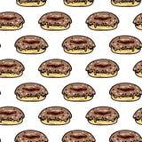Άνευ ραφής συρμένο χέρι ζωηρόχρωμο doughnut σχεδίων Μαύρο σκίτσο Doodle σύμβολο σημαδιών Στοιχείο διακοσμήσεων η ανασκόπηση απομό ελεύθερη απεικόνιση δικαιώματος