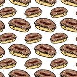 Άνευ ραφής συρμένο χέρι ζωηρόχρωμο doughnut σχεδίων Μαύρο σκίτσο Doodle σύμβολο σημαδιών Στοιχείο διακοσμήσεων η ανασκόπηση απομό απεικόνιση αποθεμάτων