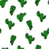 Άνευ ραφής συρμένο χέρι διανυσματικό σχέδιο με το saguaro κάκτων Στοκ Εικόνες