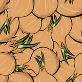Άνευ ραφής συρμένο χέρι κρεμμύδι σχεδίων Στοκ Φωτογραφία