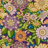 Άνευ ραφής συρμένο χέρι σχέδιο με τα λουλούδια Διακοσμητικό σχέδιο με τα αφηρημένα λουλούδια και τα φύλλα ελεύθερη απεικόνιση δικαιώματος