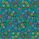 Άνευ ραφής συρμένο χέρι σχέδιο με τα λουλούδια Διακοσμητικό σχέδιο με τα αφηρημένα λουλούδια και τα φύλλα Floral ανασκόπηση Doodl ελεύθερη απεικόνιση δικαιώματος