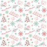 Άνευ ραφής συρμένο χέρι σχέδιο Χριστουγέννων Στοκ εικόνα με δικαίωμα ελεύθερης χρήσης