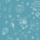 Άνευ ραφής συρμένο χέρι backgrownd μπλε Χριστουγέννων Στοκ Εικόνες
