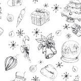 Άνευ ραφής συρμένο χέρι backgrownd bw Χριστουγέννων Στοκ εικόνα με δικαίωμα ελεύθερης χρήσης