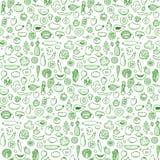 Άνευ ραφής συρμένο χέρι doodle σχέδιο λαχανικών και φρούτων Στοκ Φωτογραφίες