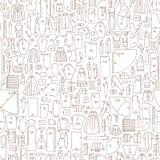 Άνευ ραφής συρμένο χέρι doodle σχέδιο με τα ενδύματα και το ράψιμο Στοκ Φωτογραφία