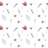 άνευ ραφής συρμένο χέρι floral σχέδιο watercolor με τα κόκκινα λουλούδια ελεύθερη απεικόνιση δικαιώματος