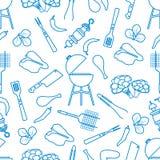 Άνευ ραφής σχάρα σχεδίων, εργαλεία σχαρών, τρόφιμα BBQ διανυσματική απεικόνιση