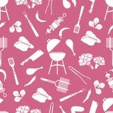 Άνευ ραφής σχάρα σχεδίων, εργαλεία σχαρών, τρόφιμα BBQ απεικόνιση αποθεμάτων