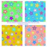 Άνευ ραφής σχέδια με τα αστέρια φαντασίας στα χρώματα νέου απεικόνιση αποθεμάτων