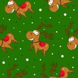 Άνευ ραφής σχέδια Χριστουγέννων με τα χαριτωμένα deers και το χιόνι ελεύθερη απεικόνιση δικαιώματος