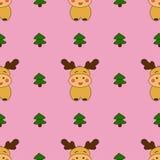 Άνευ ραφής σχέδια Χριστουγέννων με τα χαριτωμένα deers και το χριστουγεννιάτικο δέντρο ελεύθερη απεικόνιση δικαιώματος