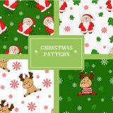 Άνευ ραφής σχέδια Χριστουγέννων με τα χαριτωμένα deers και τα santas διανυσματική απεικόνιση
