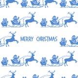 Άνευ ραφής σχέδιο Άγιος Βασίλης, δώρα Χριστουγέννων 2019 απεικόνιση αποθεμάτων