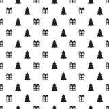 Άνευ ραφής σχέδιο έτους Χριστουγέννων νέο με το χριστουγεννιάτικο δέντρο δώρων background colors holiday red yellow Καθιερώνον τη Στοκ Εικόνες