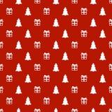 Άνευ ραφής σχέδιο έτους Χριστουγέννων νέο με το χριστουγεννιάτικο δέντρο δώρων background colors holiday red yellow Καθιερώνον τη Στοκ Εικόνα