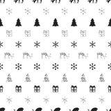 Άνευ ραφής σχέδιο έτους Χριστουγέννων νέο με snowflakes τα ελάφια χριστουγεννιάτικων δέντρων background colors holiday red yellow Στοκ Εικόνα