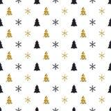 Άνευ ραφής σχέδιο έτους Χριστουγέννων νέο με snowflakes το χριστουγεννιάτικο δέντρο background colors holiday red yellow Χειμεριν Στοκ Εικόνες