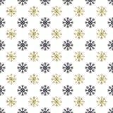 Άνευ ραφής σχέδιο έτους Χριστουγέννων νέο με snowflakes background colors holiday red yellow Χρυσά Snowflakes Χειμερινή διακόσμησ Στοκ φωτογραφία με δικαίωμα ελεύθερης χρήσης