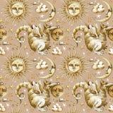 Άνευ ραφής σχέδιο ήλιων και φεγγαριών σύνολο απεικόνισης watercolor ουράνιων συμβόλων, ήλιος, φεγγάρι, αστέρι, δράκος, έκλειψη με απεικόνιση αποθεμάτων