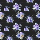 Άνευ ραφής σχέδιο ανθοδεσμών τριαντάφυλλων Watercolor μπλε απεικόνιση αποθεμάτων