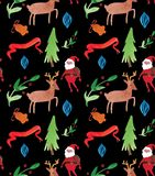Άνευ ραφής σχέδιο απεικονίσεων Χριστουγέννων Watercolor με Άγιο Βασίλη, τα ελάφια, τα δέντρα και τα μούρα Θέμα χειμερινού νέο έτο διανυσματική απεικόνιση