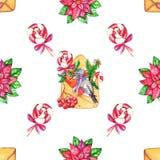 Άνευ ραφής σχέδιο απεικόνισης Χριστουγέννων Watercolor συρμένο χέρι ελεύθερη απεικόνιση δικαιώματος