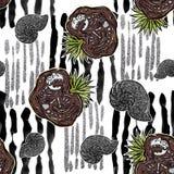 Άνευ ραφής σχέδιο - απολιθώματα και ammonites δεινοσαύρων στις κάθετες γραμμές κτυπημάτων βουρτσών ελεύθερη απεικόνιση δικαιώματος