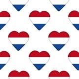 Άνευ ραφής σχέδιο από τις καρδιές με τη σημαία Netherland Στοκ φωτογραφία με δικαίωμα ελεύθερης χρήσης