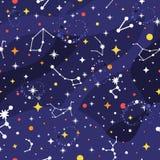 Άνευ ραφής σχέδιο αστερισμού Διαστημικό υπόβαθρο Τυπωμένη ύλη γαλαξιών Διαστημικό σχέδιο με τα αστέρια, γαλακτώδης τρόπος, αστερι διανυσματική απεικόνιση