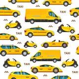 Άνευ ραφής σχέδιο αυτοκινήτων ταξί συλλογή της κίτρινης μεταφοράς αμαξιών υπηρεσιών Διανυσματική απεικόνιση