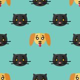 Άνευ ραφής σχέδιο για τα κλωστοϋφαντουργικά προϊόντα με τα χαριτωμένα μαύρα γατάκια και τα κίτρινα κουτάβια σε ένα ανοικτό μπλε υ διανυσματική απεικόνιση