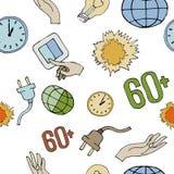 Άνευ ραφής σχέδιο για τη γήινη ώρα Διανυσματική απεικόνιση